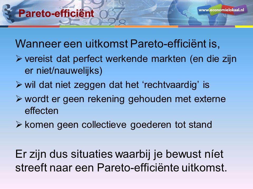 Wanneer een uitkomst Pareto-efficiënt is,