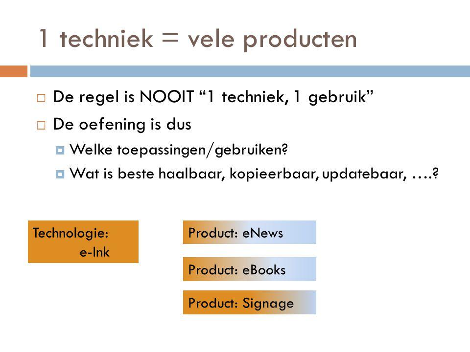 1 techniek = vele producten
