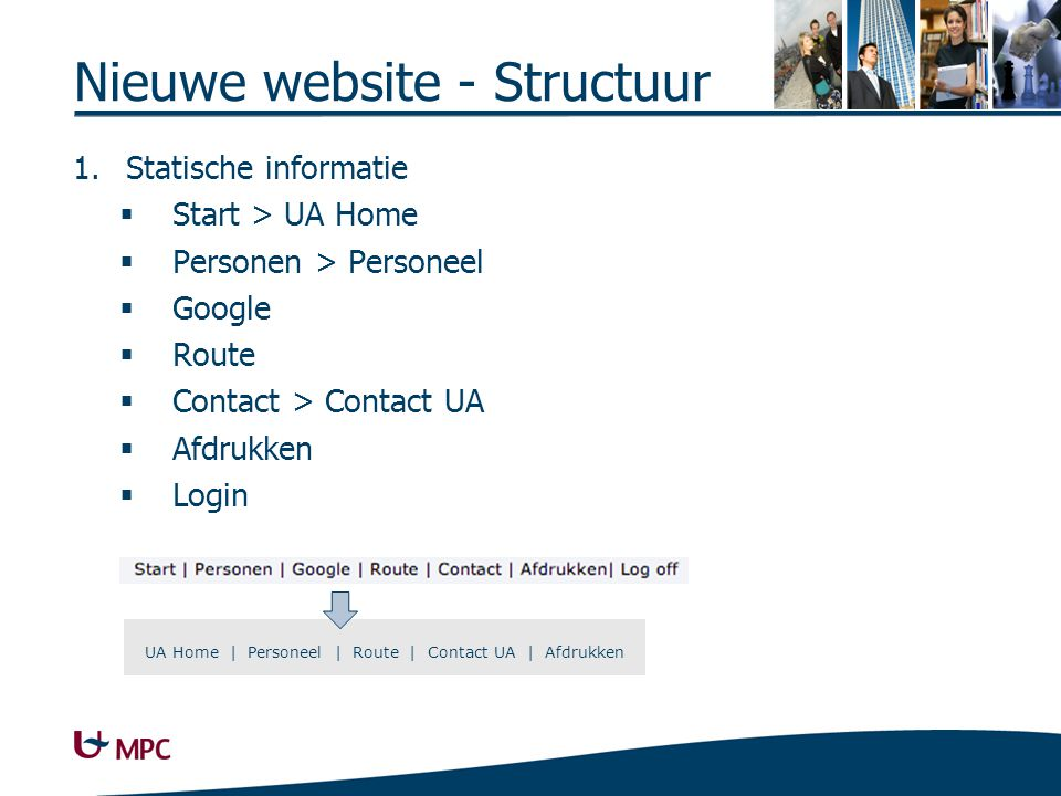 Structuur (2) Afbeeldingen als hyperlinks UA logo MPC Navigatietools