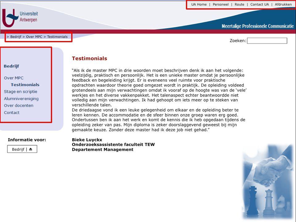 Inhoud - Homepage Homepage Toekomstige student Alumni Huidige student