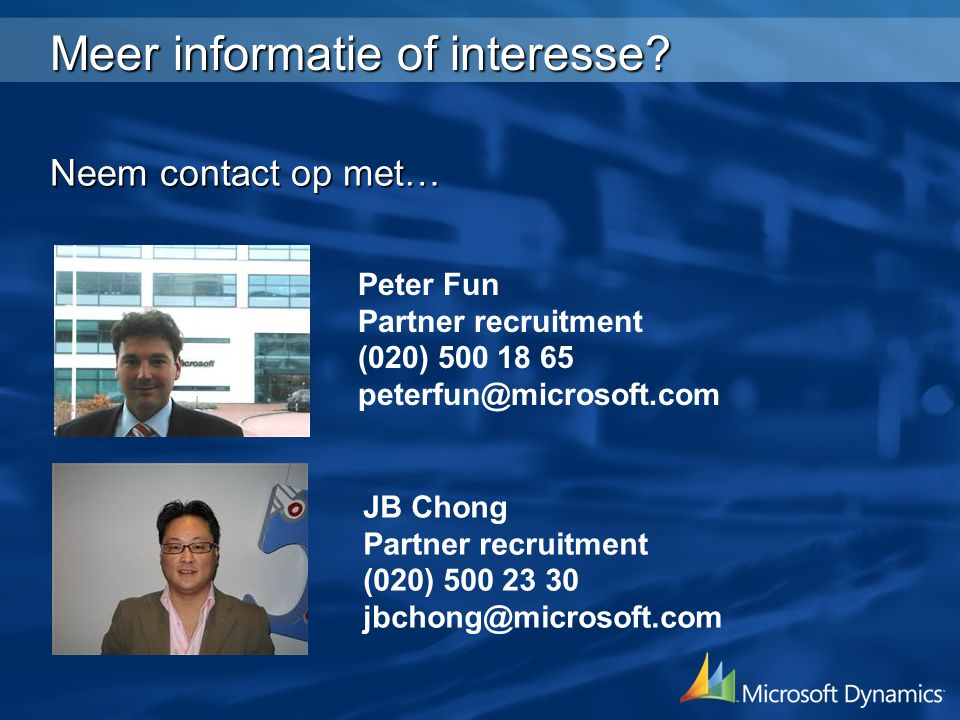 Meer informatie of interesse