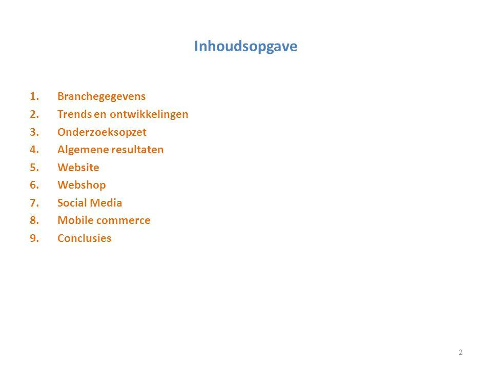 Inhoudsopgave Branchegegevens Trends en ontwikkelingen Onderzoeksopzet