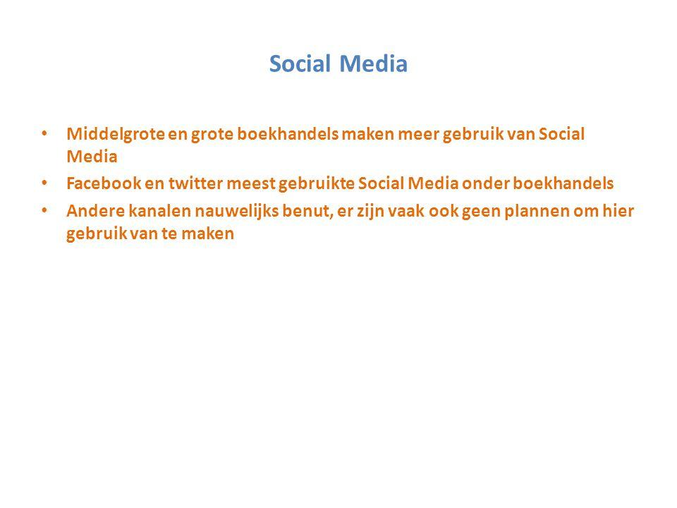 Social Media Middelgrote en grote boekhandels maken meer gebruik van Social Media.