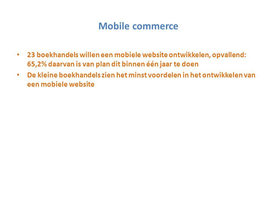 Mobile commerce 23 boekhandels willen een mobiele website ontwikkelen, opvallend: 65,2% daarvan is van plan dit binnen één jaar te doen.