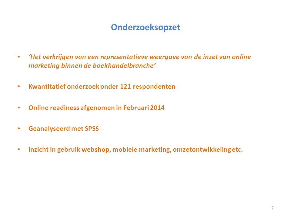 Onderzoeksopzet 'Het verkrijgen van een representatieve weergave van de inzet van online marketing binnen de boekhandelbranche'
