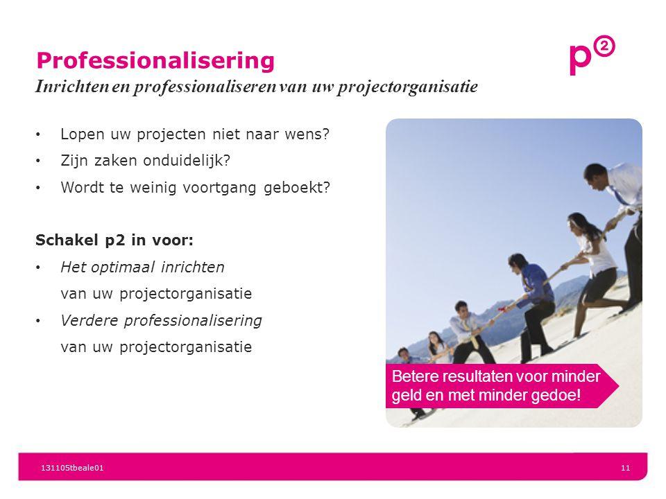 Professionalisering Inrichten en professionaliseren van uw projectorganisatie. Lopen uw projecten niet naar wens