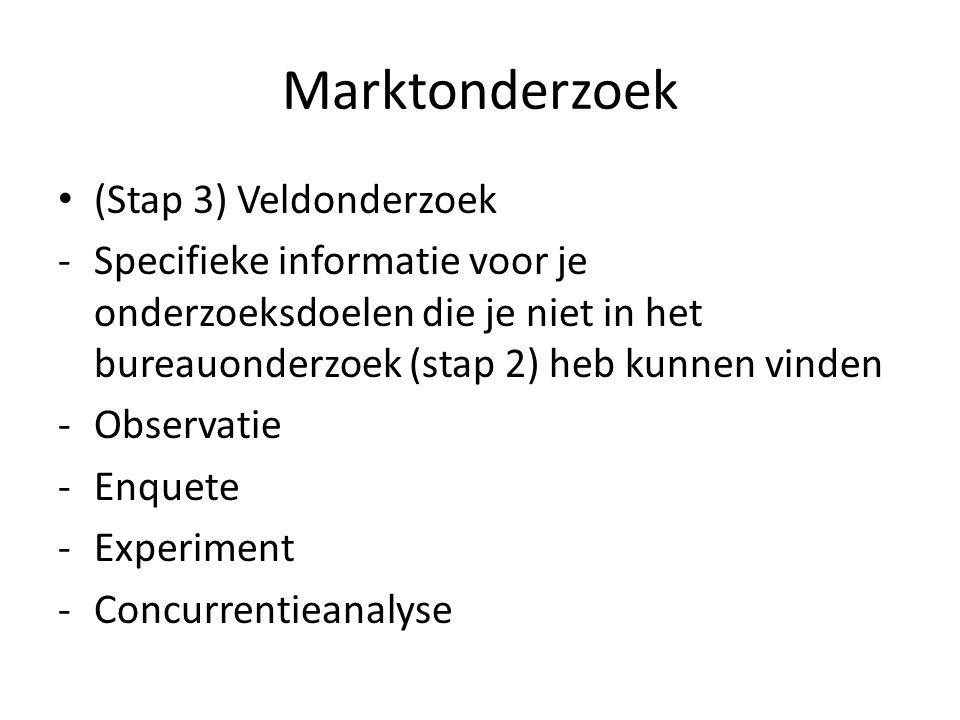 Marktonderzoek (Stap 3) Veldonderzoek