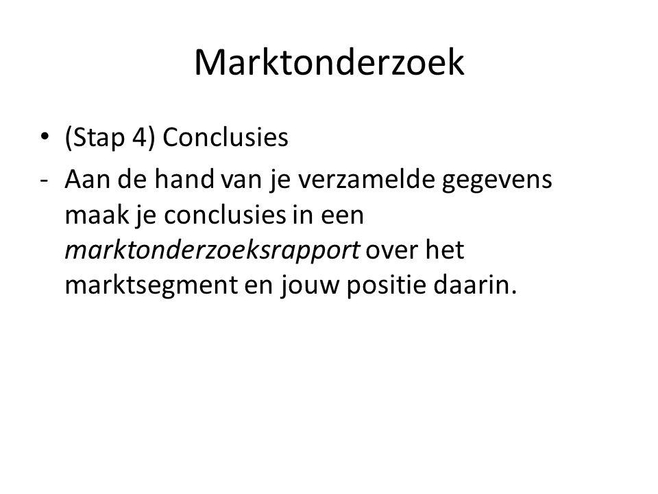 Marktonderzoek (Stap 4) Conclusies