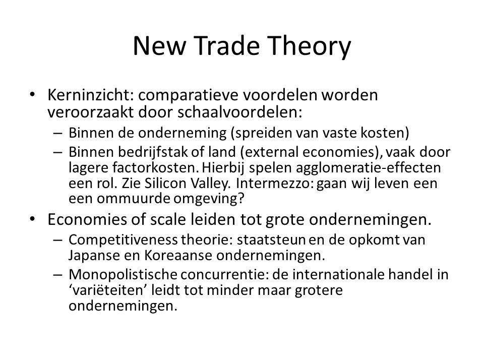 New Trade Theory Kerninzicht: comparatieve voordelen worden veroorzaakt door schaalvoordelen: Binnen de onderneming (spreiden van vaste kosten)