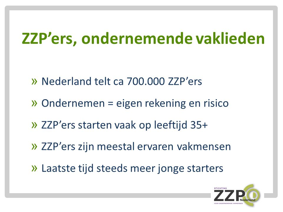 ZZP'ers, ondernemende vaklieden