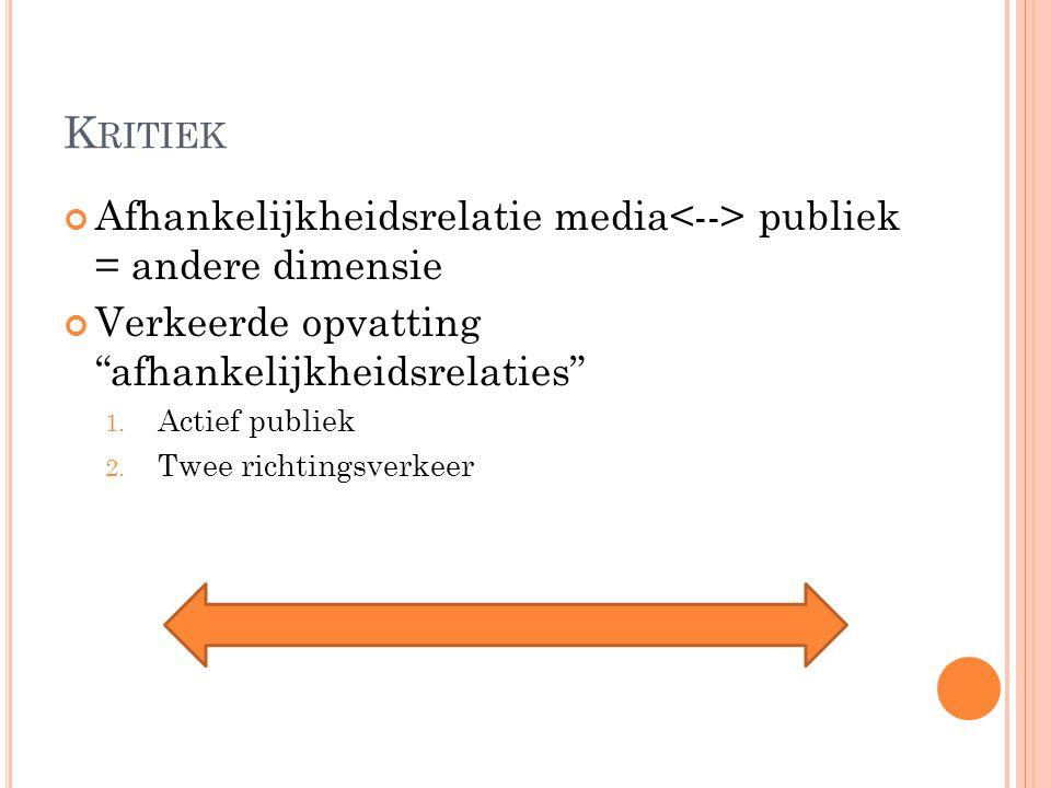Kritiek Afhankelijkheidsrelatie media<--> publiek = andere dimensie. Verkeerde opvatting afhankelijkheidsrelaties