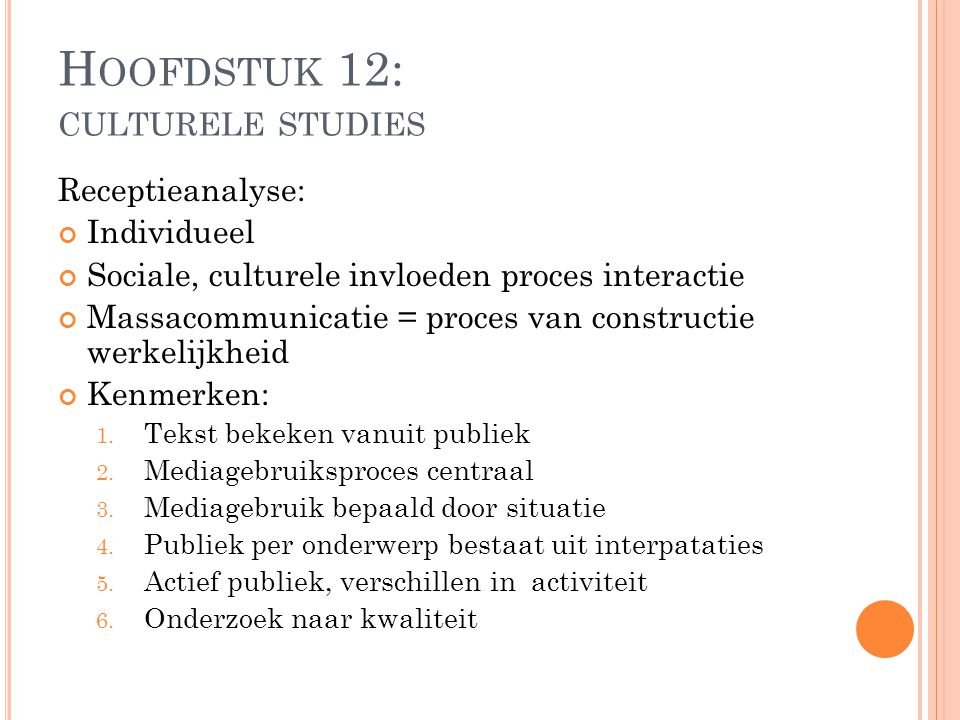 Hoofdstuk 12: culturele studies