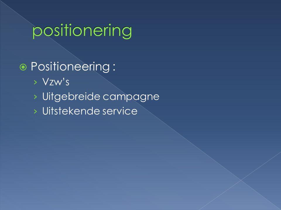 positionering Positioneering : Vzw's Uitgebreide campagne