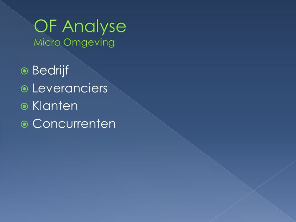 OF Analyse Micro Omgeving