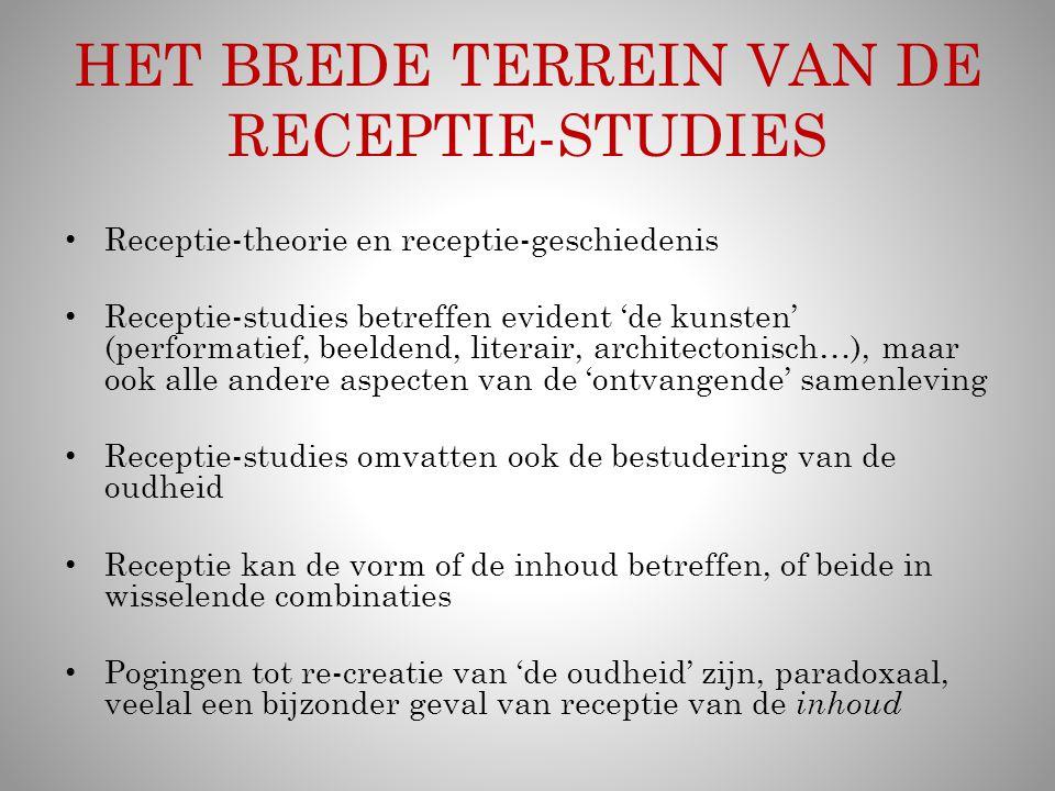 HET BREDE TERREIN VAN DE RECEPTIE-STUDIES