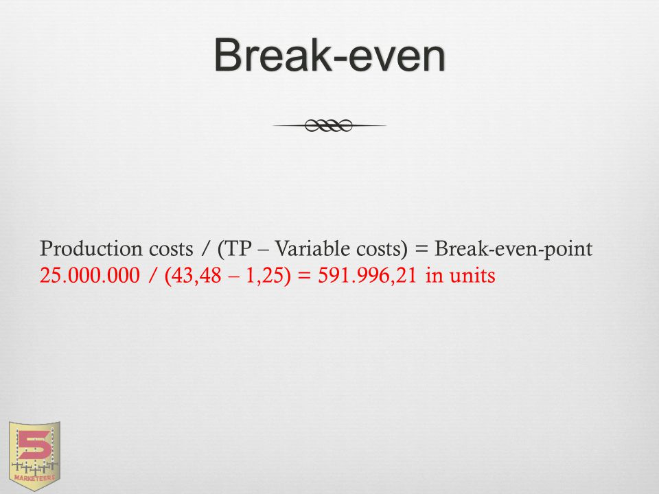 Break-even Production costs / (TP – Variable costs) = Break-even-point