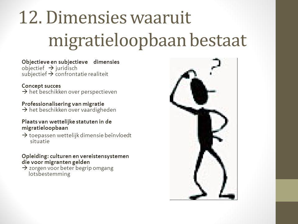 12. Dimensies waaruit migratieloopbaan bestaat