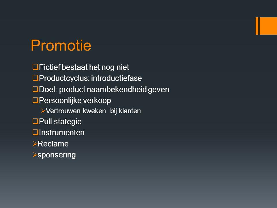 Promotie Fictief bestaat het nog niet Productcyclus: introductiefase