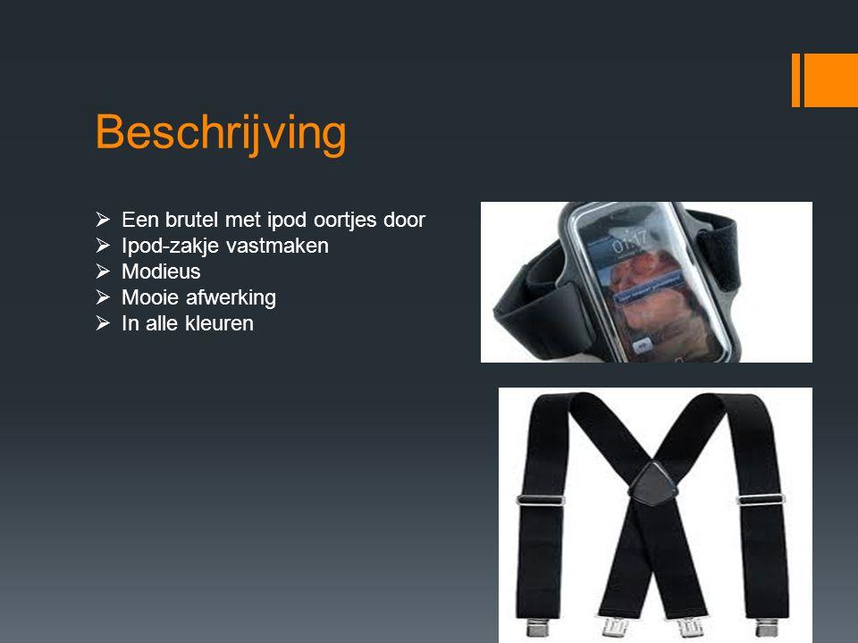 Beschrijving Een brutel met ipod oortjes door Ipod-zakje vastmaken