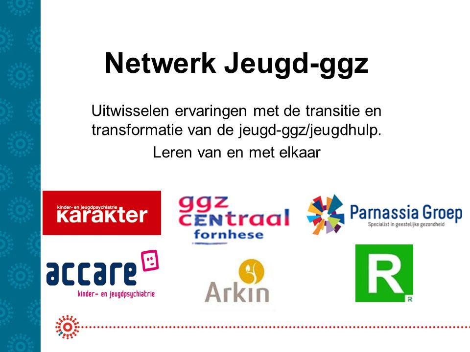 Netwerk Jeugd-ggz Uitwisselen ervaringen met de transitie en transformatie van de jeugd-ggz/jeugdhulp.