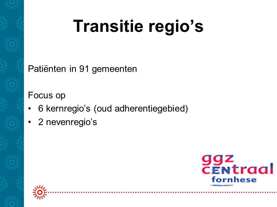 Transitie regio's Patiënten in 91 gemeenten Focus op