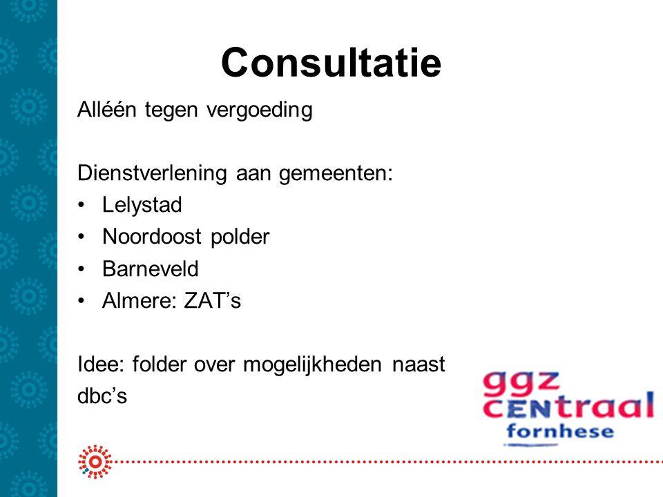 Consultatie Alléén tegen vergoeding Dienstverlening aan gemeenten: