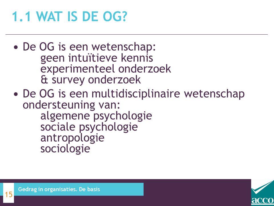 1.1 Wat is de OG De OG is een wetenschap: geen intuïtieve kennis experimenteel onderzoek & survey onderzoek.