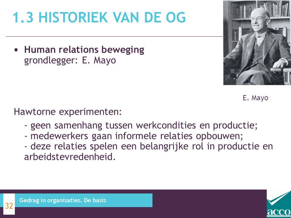 1.3 Historiek van de OG Human relations beweging grondlegger: E. Mayo