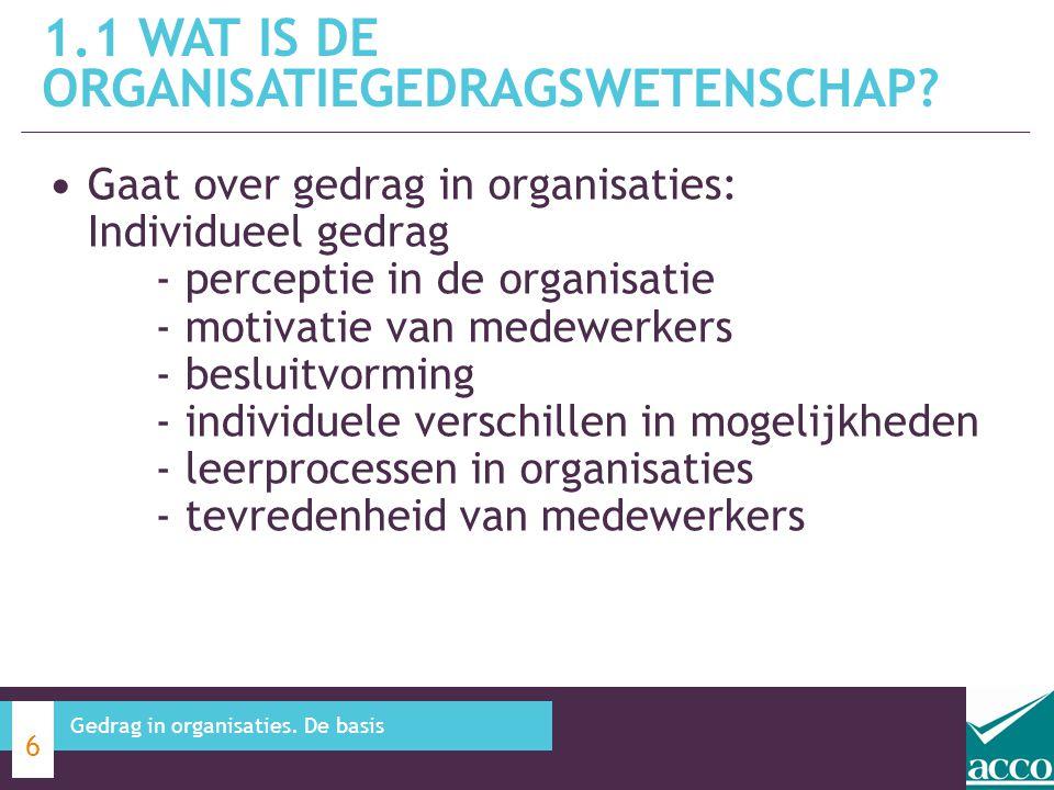 1.1 Wat is de organisatiegedragswetenschap