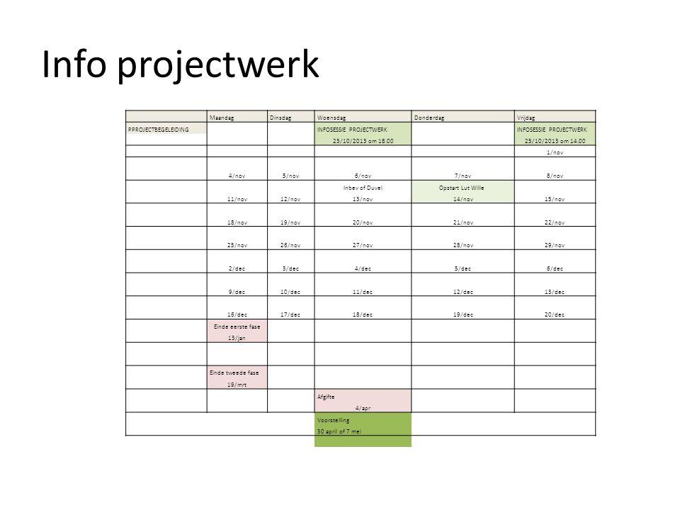 Info projectwerk Maandag Dinsdag Woensdag Donderdag Vrijdag