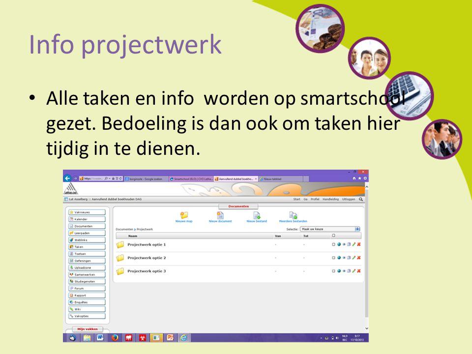 Info projectwerk Alle taken en info worden op smartschool gezet.