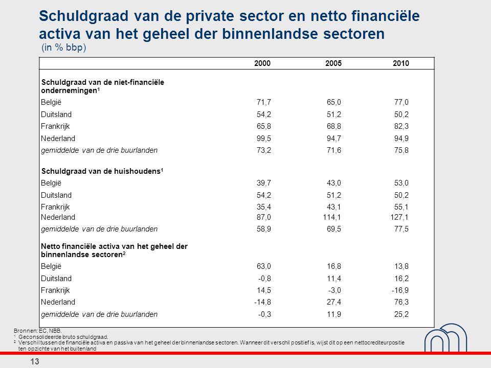 Schuldgraad van de private sector en netto financiële activa van het geheel der binnenlandse sectoren