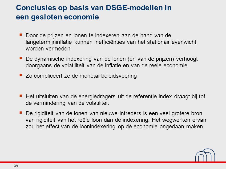 Conclusies op basis van DSGE-modellen in een gesloten economie