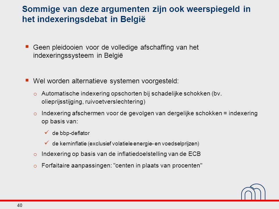 Sommige van deze argumenten zijn ook weerspiegeld in het indexeringsdebat in België