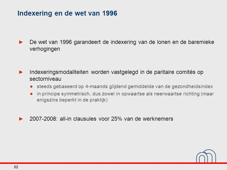 Indexering en de wet van 1996
