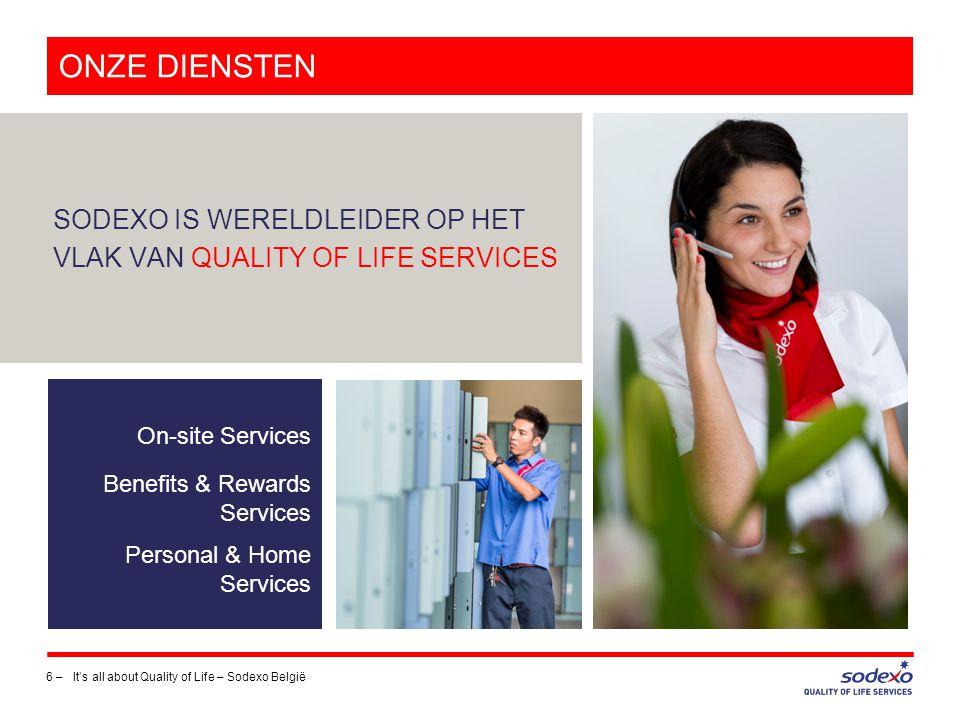 ONZE DIENSTEN SODEXO IS WERELDLEIDER OP HET VLAK VAN QUALITY OF LIFE SERVICES. On-site Services.