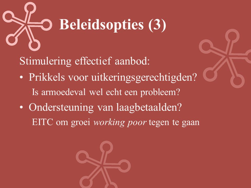 Beleidsopties (3) Stimulering effectief aanbod: