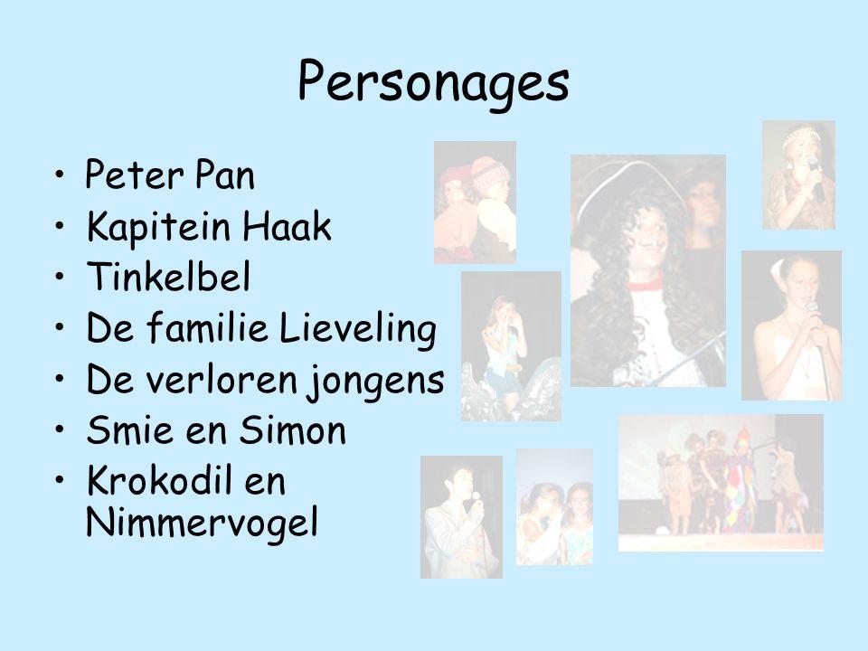 Personages Peter Pan Kapitein Haak Tinkelbel De familie Lieveling