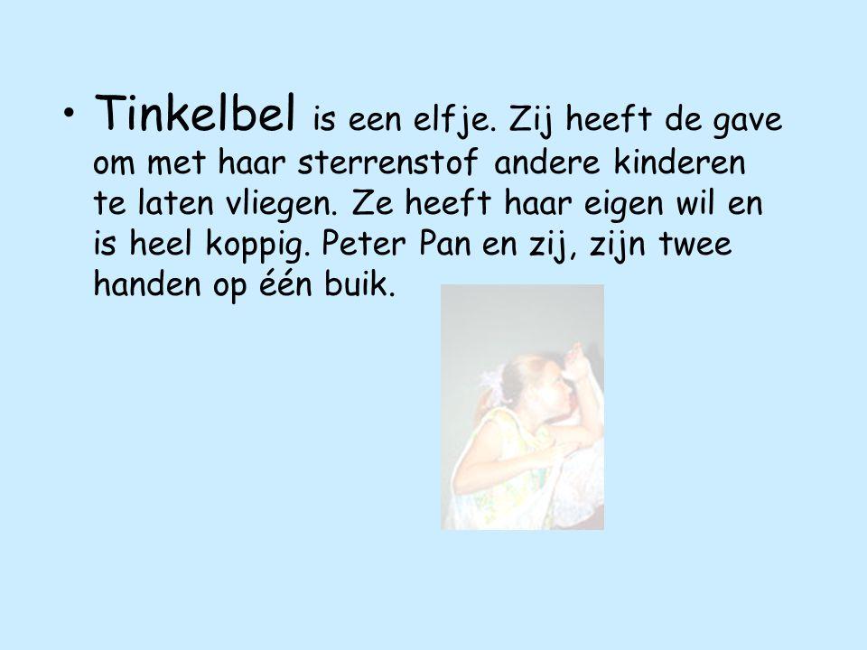 Tinkelbel is een elfje. Zij heeft de gave om met haar sterrenstof andere kinderen te laten vliegen.