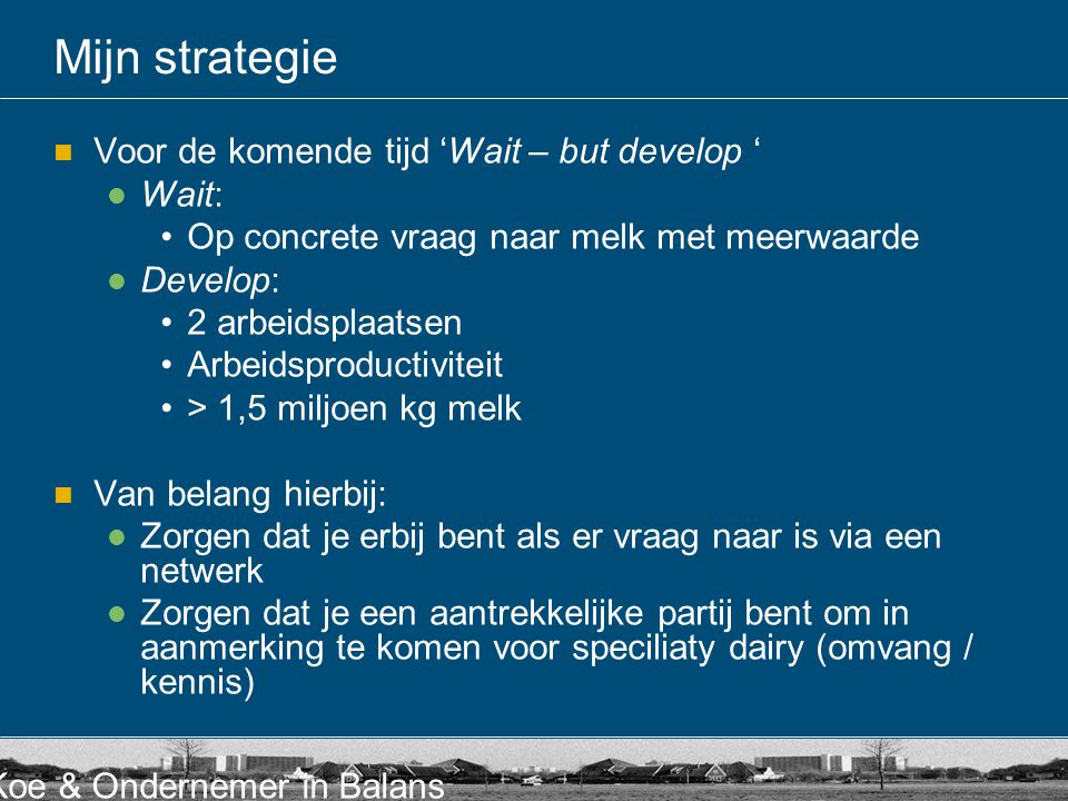 Mijn strategie Voor de komende tijd 'Wait – but develop ' Wait: