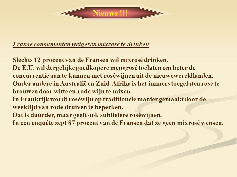 Nieuws !!! Franse consumenten weigeren mixrosé te drinken
