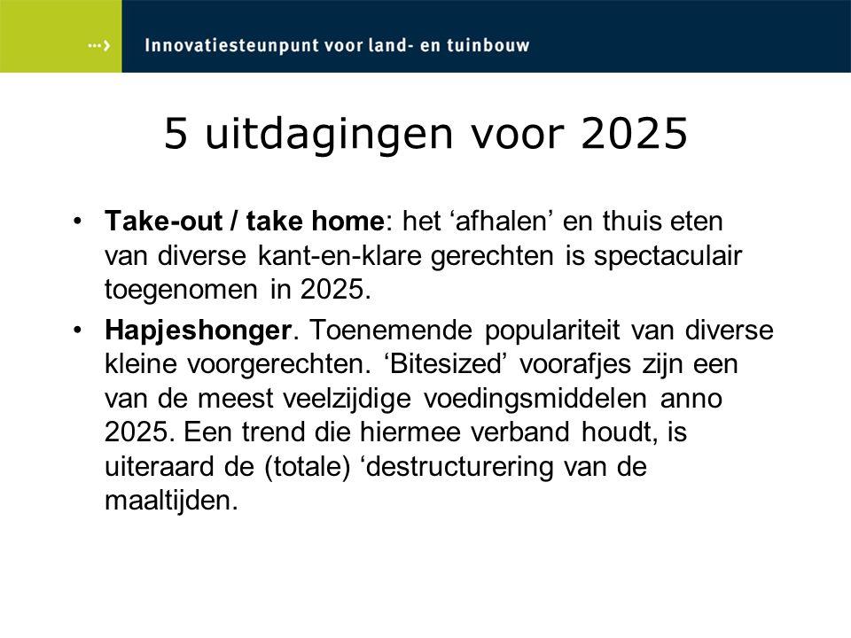 5 uitdagingen voor 2025 Take-out / take home: het 'afhalen' en thuis eten van diverse kant-en-klare gerechten is spectaculair toegenomen in 2025.