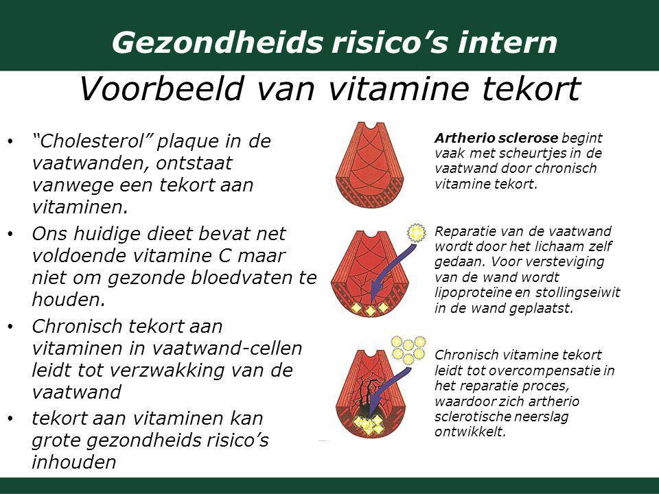 Gezondheids risico's intern Voorbeeld van vitamine tekort
