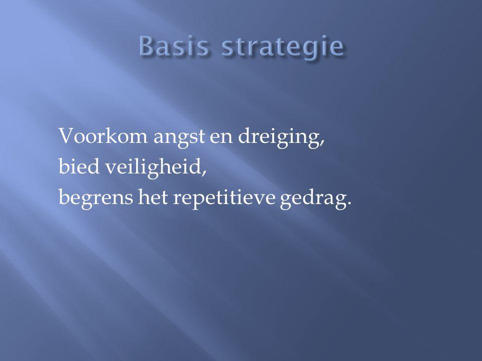 Basis strategie Voorkom angst en dreiging, bied veiligheid, begrens het repetitieve gedrag.