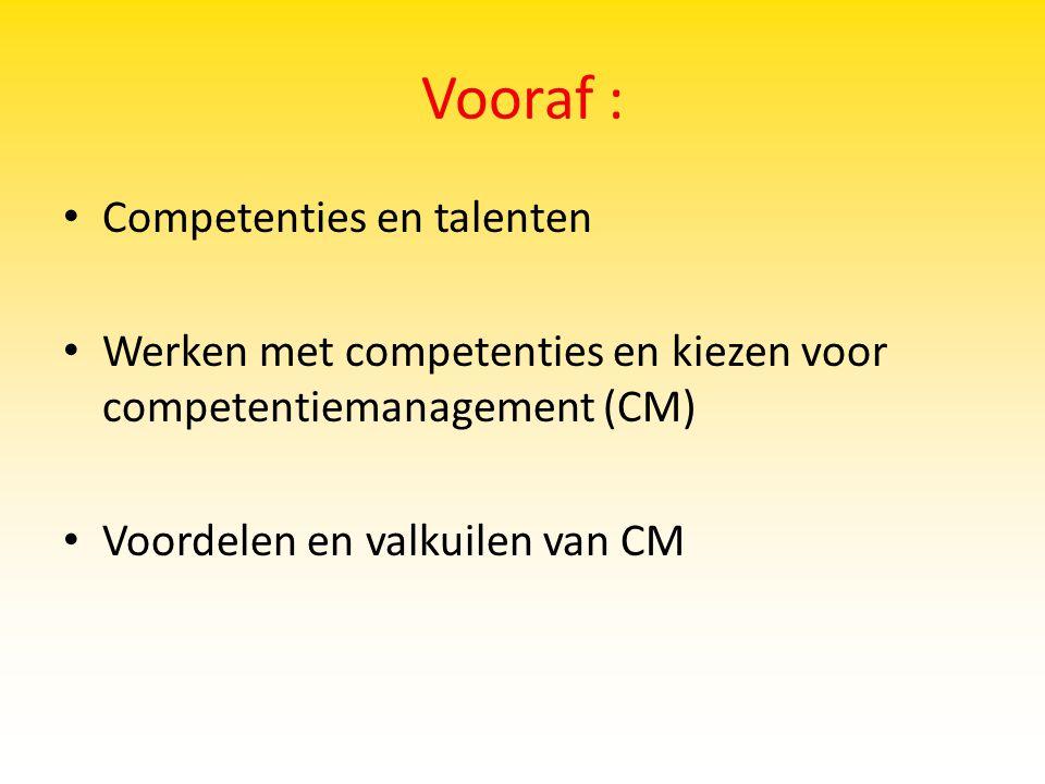 Vooraf : Competenties en talenten
