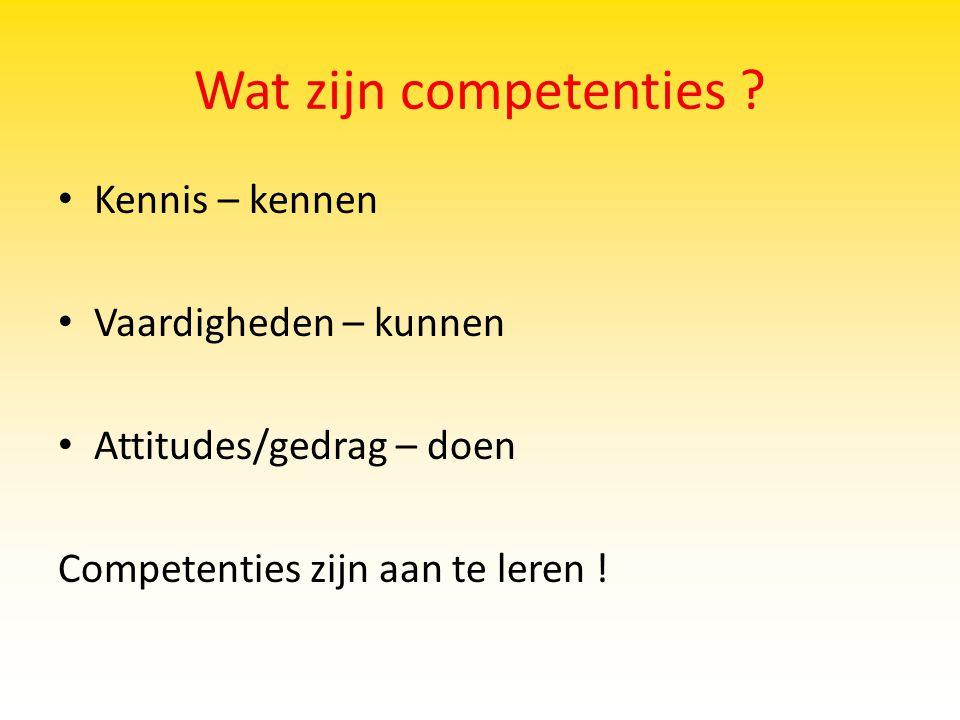 Wat zijn competenties Kennis – kennen Vaardigheden – kunnen