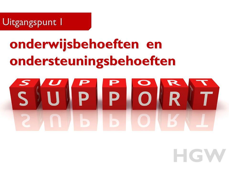 HGW onderwijsbehoeften en ondersteuningsbehoeften Uitgangspunt 1