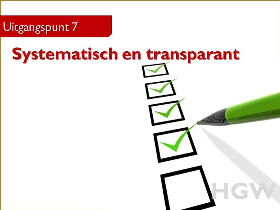 HGW Systematisch en transparant Uitgangspunt 7 Robert Marzoan