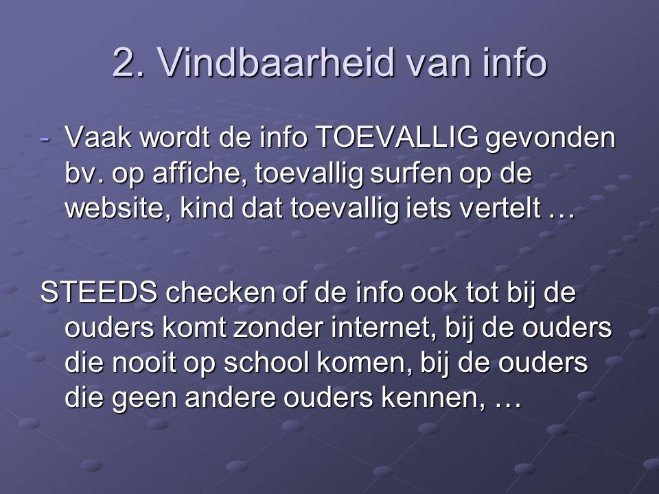 2. Vindbaarheid van info Vaak wordt de info TOEVALLIG gevonden bv. op affiche, toevallig surfen op de website, kind dat toevallig iets vertelt …