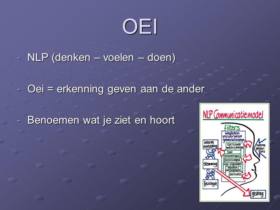 OEI NLP (denken – voelen – doen) Oei = erkenning geven aan de ander